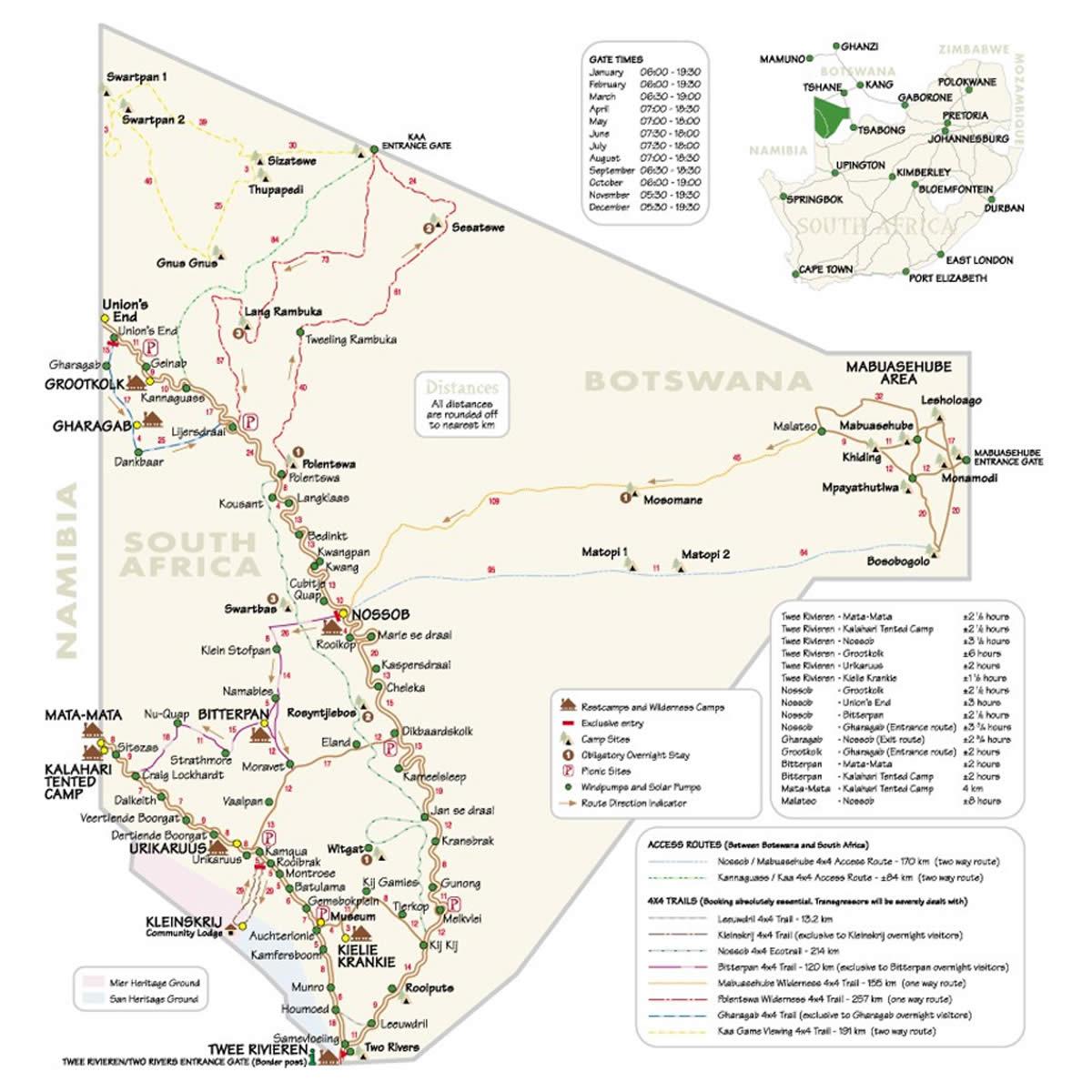 Kgalagadi Transfrontier Park Tour Map | Kalahari Safaris | Kgalagadi, Augrabies & Desert Tours