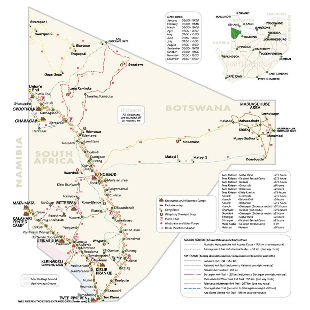 Picture of: Kgalagadi Transfrontier Park Tour Map Kalahari Safaris Kgalagadi Augrabies Desert Tours